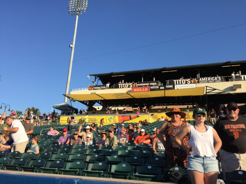 Pacifico Porch (our party deck for the July 8th, 2017 River Cats games) from the viewpoint of the field during the cruise